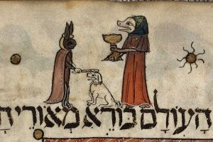 Detail of a page: miniature of a pig-like figure lifting the first cup of wine and a hare placing a stick upon a dog's head.